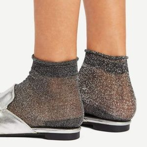 Glitter Ankle socks with Black Lace Trim